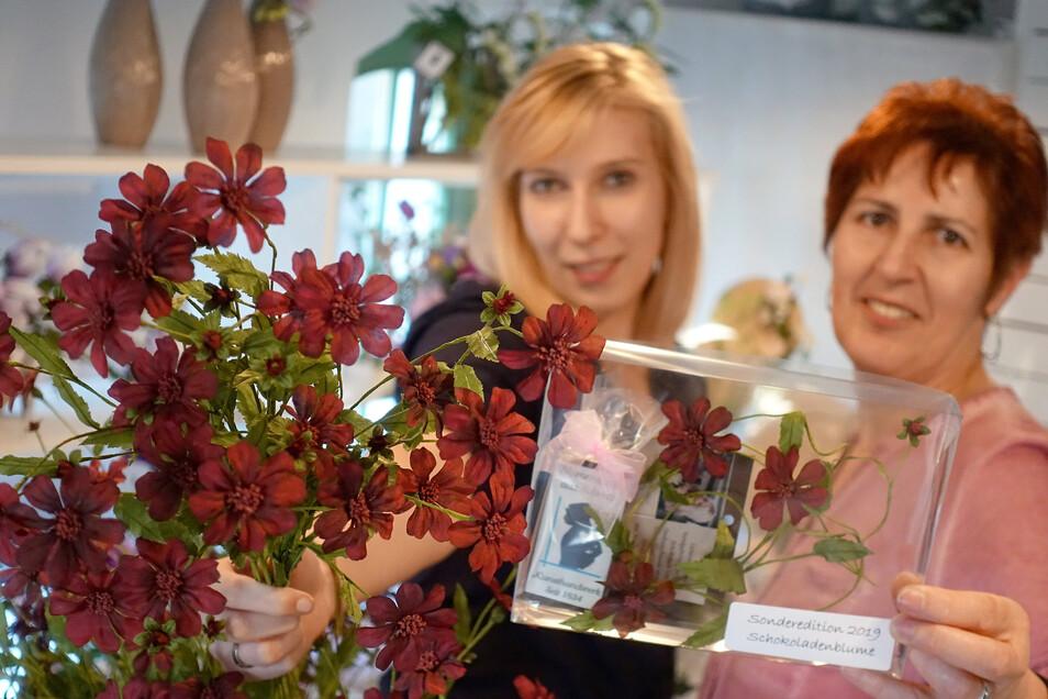 Marketingleiterin Tina Meinert und Viola Scheibe von der Schaumanufaktur präsentieren das Jubiläumspaket aus Anlass 185 Jahre Kunstblume in Sebnitz.