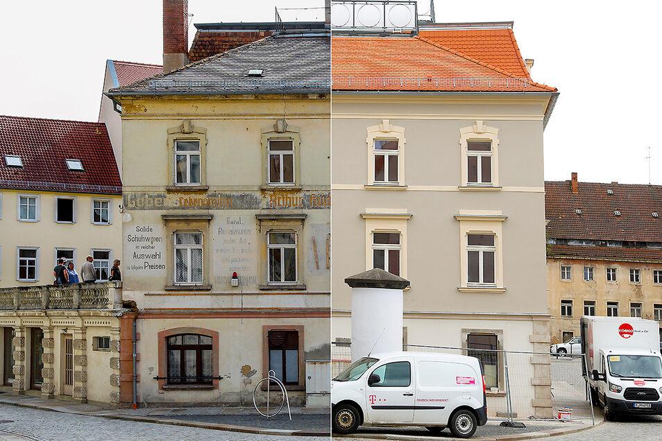 So wie links sah es vor der Sanierung aus, rechts die erneute Fassade.