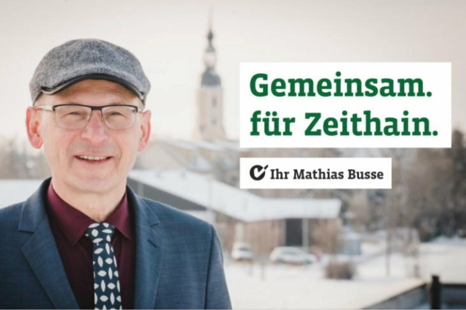 """""""Gemeinsam für Zeithain"""" ist das Motto, mit dem der CDU-Bewerber Mathias Busse in den sozialen Medien für sich wirbt."""