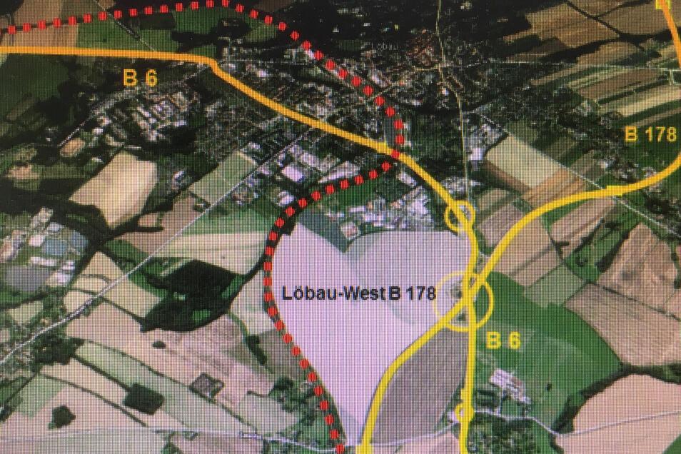 Das künftig um 88 Hektar erweiterte Gewerbegebiet wird durch die B6, die B178 und die Bahntrasse begrenzt.