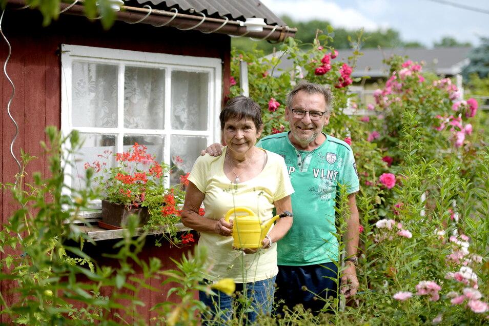 """Andreas (63) und Martina Herrmann (62): """"Die Bewegung an der frischen Luft und der Kontakt mit den anderen ist schon was Tolles. Wir haben den Garten hier seit 2013 und der Sohn vom Vorstand ist auch oft bei uns. Wir sind manchmal mehr oder weniger die """"Leihgroßeltern"""". Die Gartenarbeit ist auch super zur Selbstversorgung. Mein Mann liebt ja Erdbeeren so sehr. Ich mag aber die Rosen am meisten. Das braucht natürlich alles viel Pflege. Aber sich nach der Arbeit in der Sitzecke auszuruhen ist auch einfach ein schönes Gefühl."""""""