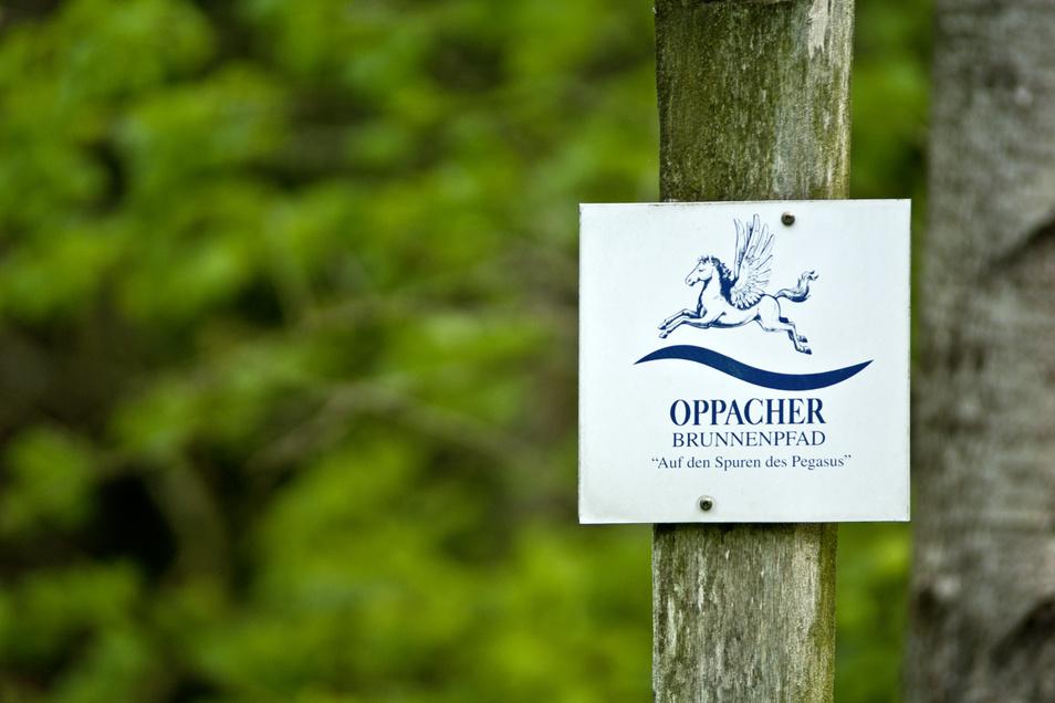 An verschiedenen Punkten des Brunnenpfads begegnet dem Wanderer der sagenumwobene Pegasus – das Markenzeichen Oppachers.