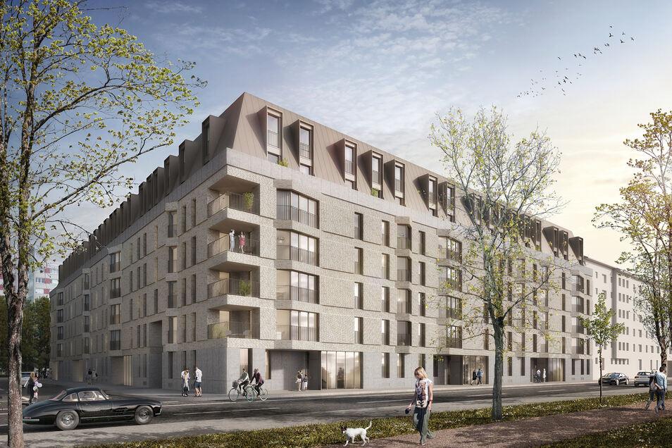 Die Wohnungen zur Elbseite werden kleine Erker haben. Damit greifen die Architekten die für die Johannstädter Altbauten am Käthe-Kollwitz-Ufer so typische Gestaltung auf.