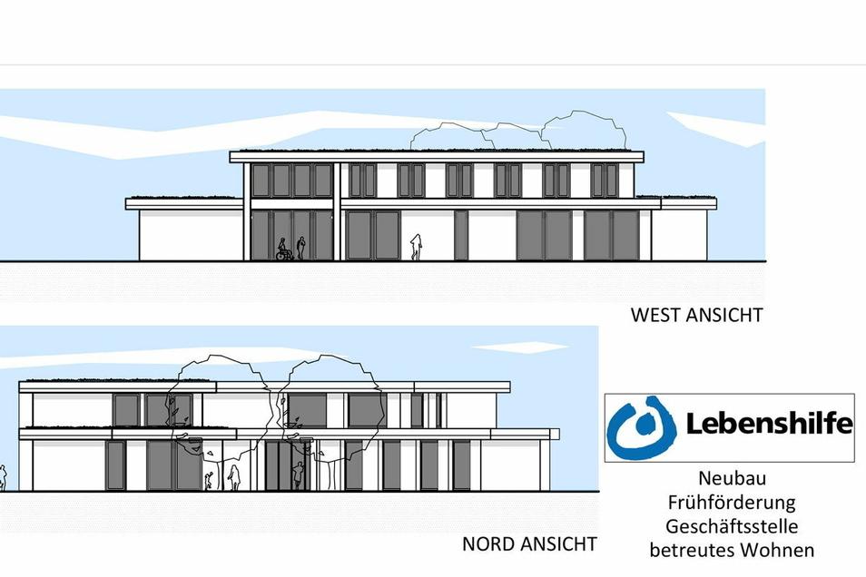 Eine erste Entwurfsskizze sieht einen zweigeschossigen Bau im Wohngebiet an der Niederauer Straße vor.