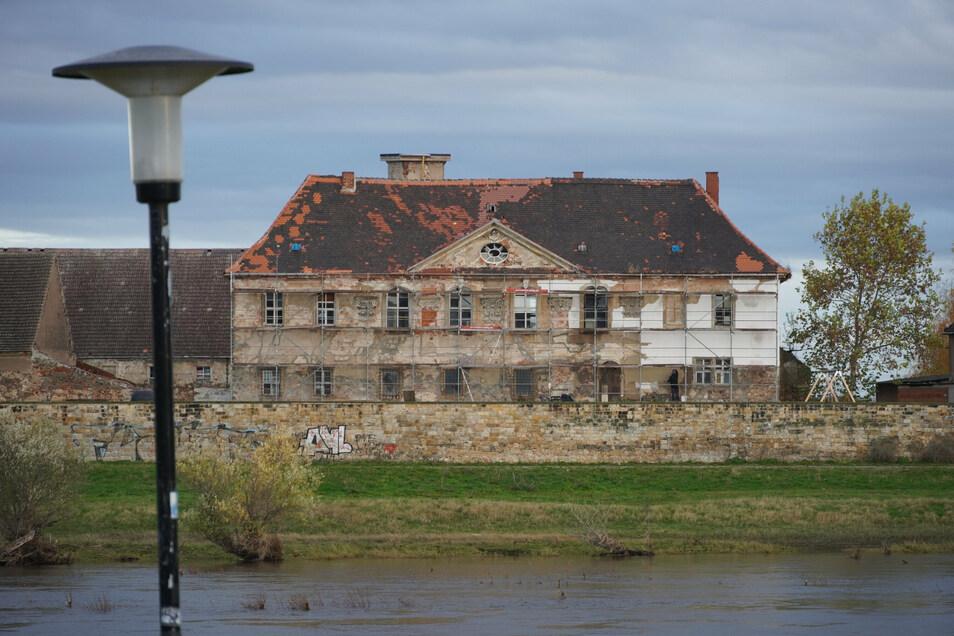 Schloss Promnitz vom Riesaer Elbufer gesehen. Die Fassade ist eingerüstet. Maurer und Putzer sind am Werk.