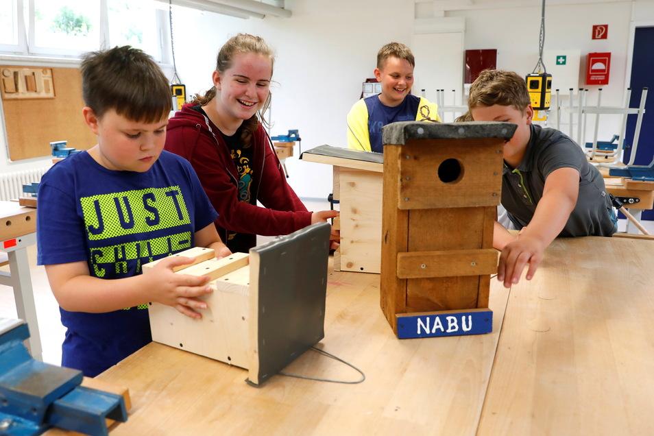An vier Stationen konnten die Mädchen und Jungen verschiedenes selbst bauen: Hier sind Nistkästen für Vögel dran.