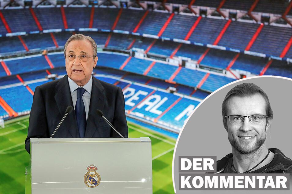 Real Madrids Präsident Florentino Pérez sieht die Zukunft seines Vereins ohne Super League gefährdet. Sächsische.de-Sportchef Tino Meyer traut dem Bauunternehmer eine andere Rolle zu.