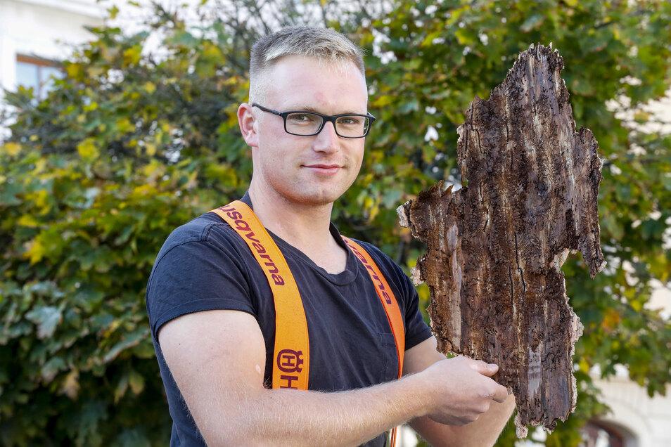 Patrick Wollner war einer der Arbeiter, die im Löbauer Stadtwald seit vergangenem Herbst für Ordnung sorgen. Jetzt geht's ans Aufforsten.