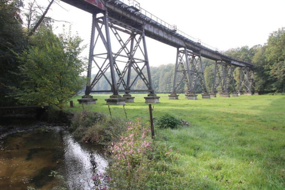 Das denkmalgeschützte Viadukt über das Pulsnitztal bei Königsbrück rostet still vor sich hin.