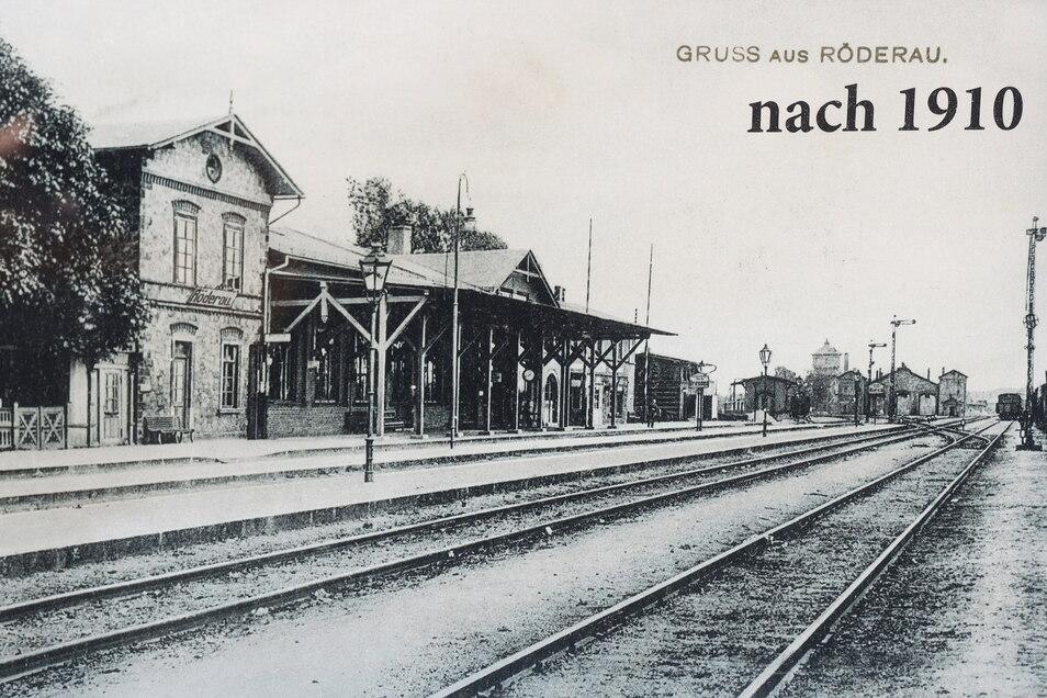 Kaum zu glauben: Aber so schön sah vor etwa 110 Jahren der Röderauer Bahnhof aus.