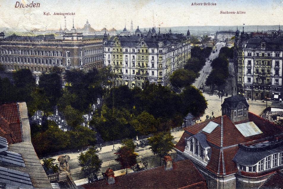 Blick um 1910 auf das Amstgericht in Dresden.