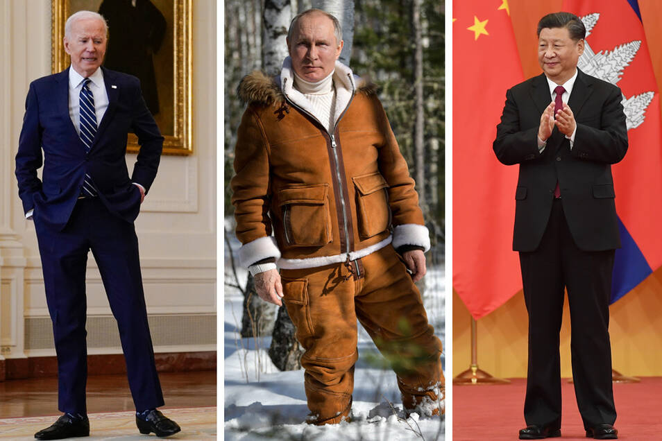 Auch mit den Präsidenten Russlands, Putin (M), und von China, Xi (r) will US-Präsident Biden beim Klimaschutz voran kommen.