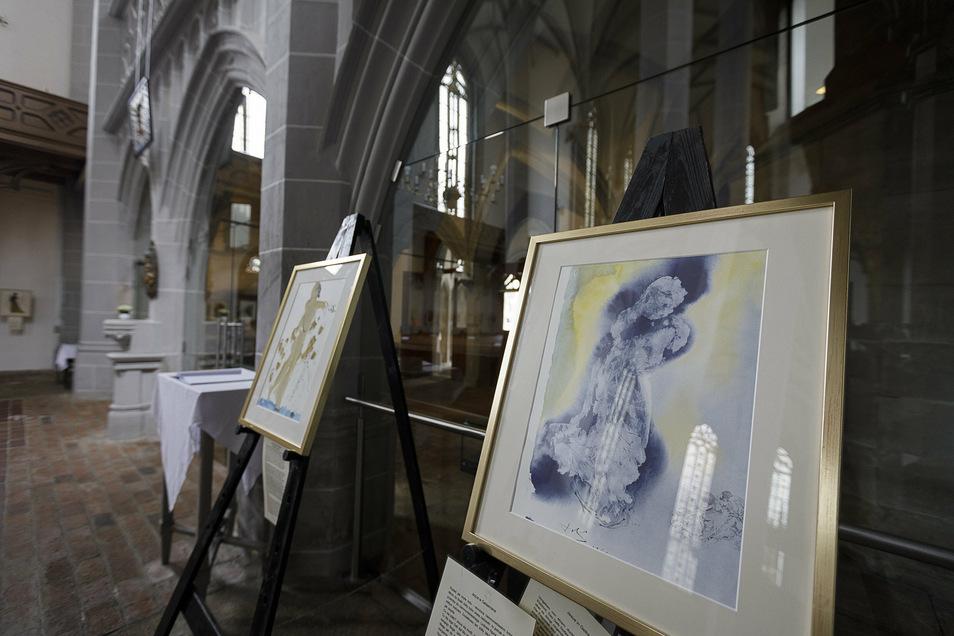 """""""Jesus in Gethsemane"""" heißt eine der Lithografien von Salvador Dalí, die in der Görlitzer Frauenkirche zu sehen sind. Sie zeigt Jesus wie einen Eisblock, abgetrennt vom Gelb Gottes."""