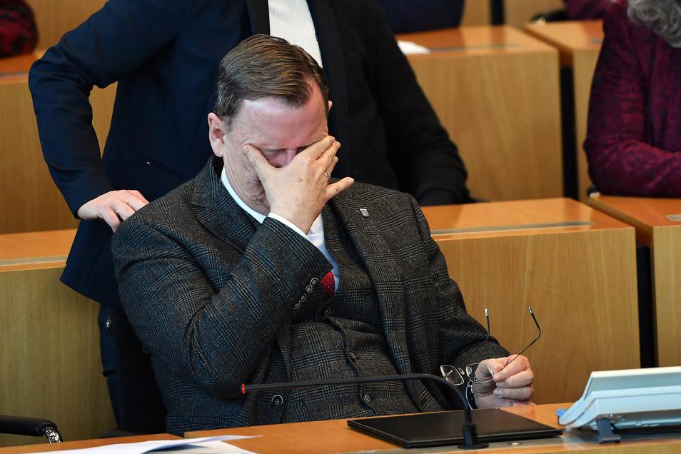 Bodo Ramelow (Die Linke) am Mittwoch während der Wahl des neuen Ministerpräsidenten im Landtag von Thüringen.