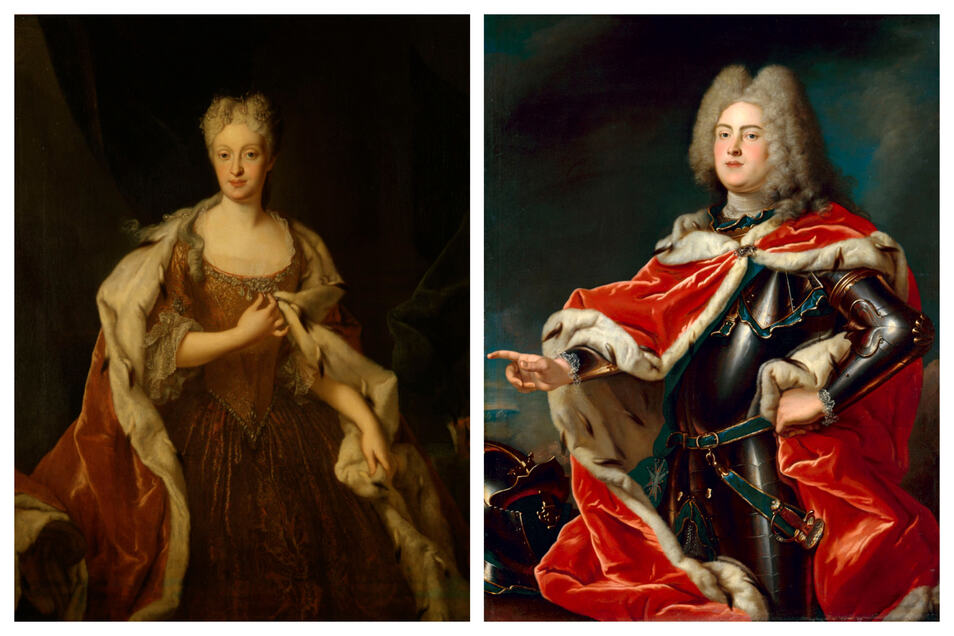 Louis de Silvestre porträtierte die Vermählten.