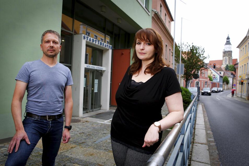 David Kliemann und Odette Künstler managen das Kulturangebait auf der Hutbergbühne und im Stadttheater Kamenz. Zurzeit geht da gerade nichts.