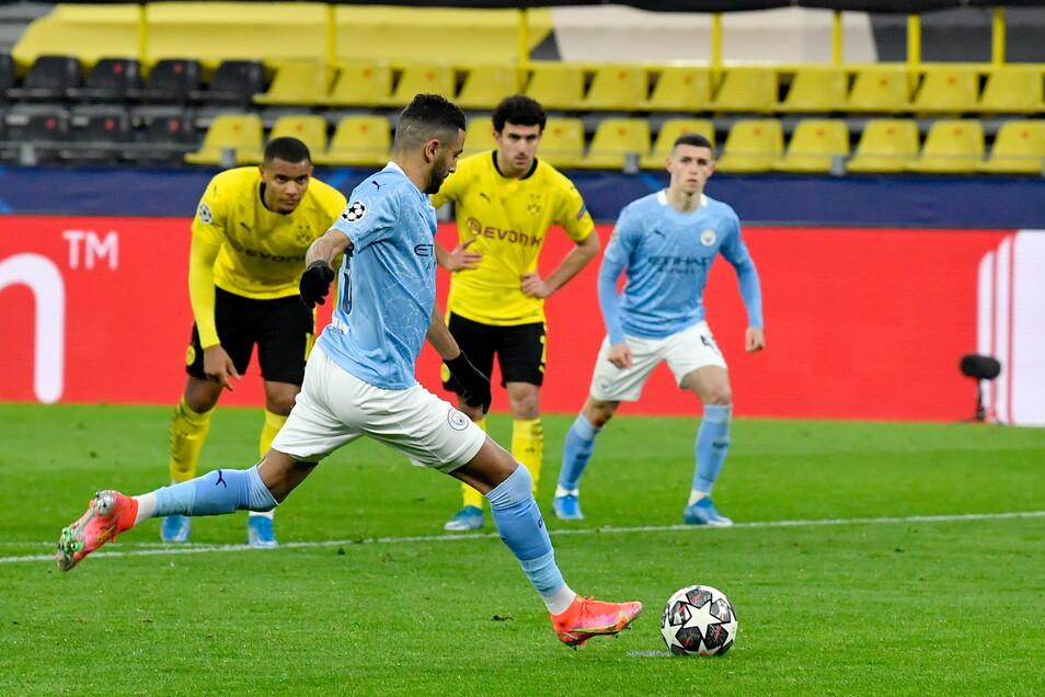 Der Dämpfer für den BVB: Riyad Mahrez erzielt den Treffer zum 1:1 per Elfmeter.