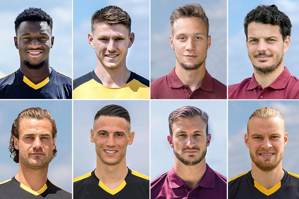 Dynamos bisher acht Neuzugänge; oben von links: Agyemang Diawusie, Robin Becker, Tim Knipping, Philipp Hosiner. Unten von links: Yannik Stark, Panagiotis Vlachodimos, Pascal Sohm und Sebastian Mai.