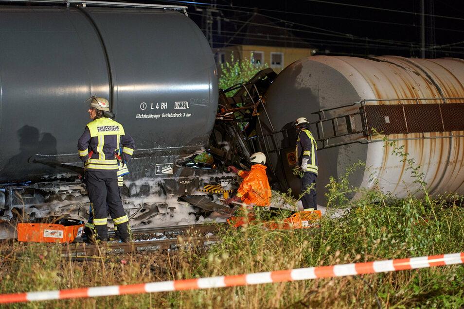 Der Güterzug mit Biodiesel ist am Sonntagabend im Bahnhof Niederlahnstein entgleist. Verletzt wurde niemand.