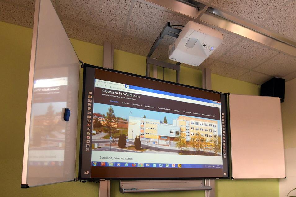 Solche interaktive Tafeln werden bald ausschließlich in der Oberschule Schönfeld zu finden sein. Auch sie können noch beschrieben werden.