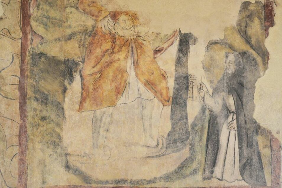 Das Bild zeigt den heiligen Christophorus, der wegen der niedrigen Decke nur bis zu Hüfte sichtbar ist.