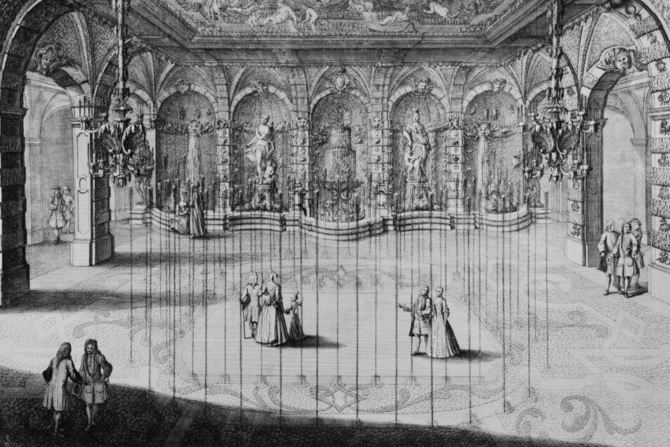 Kunstvoll gestaltet war der 1716 fertiggestellte Grottensaal. Der Grottier überraschte Besucher damit, dass er Wasser emporspritzen ließ.