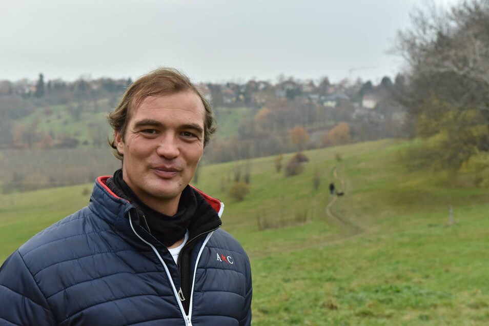 Tim Grohmann will am Burgwartsberg zwischen Freital und Pesterwitz einen Trimm-dich-Pfad.