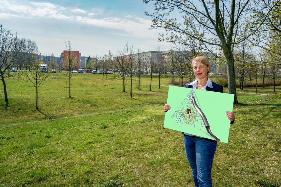 Viel Platz für neue Spielgeräte: BWB-Geschäftsführerin Kirsten Schönherr zeigt einen Seilzirkus, der hier im Erlebnispark im Bautzener Stadtteil Gesundbrunnen aufgebaut wird.