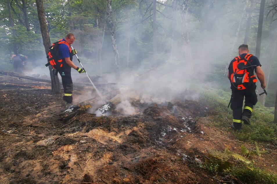Bei einem Brand am Großen Zschand bei Schmilka im September 2020 waren die Einsatzkräfte auch mit Löschrucksäcken im unwegsamen Gelände unterwegs.