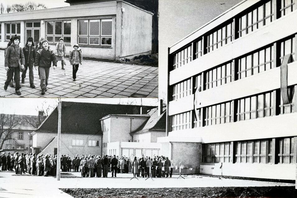 Schulappell an der POS Rothenburg, im Hintergrund links die Grundschule Rothenburg.