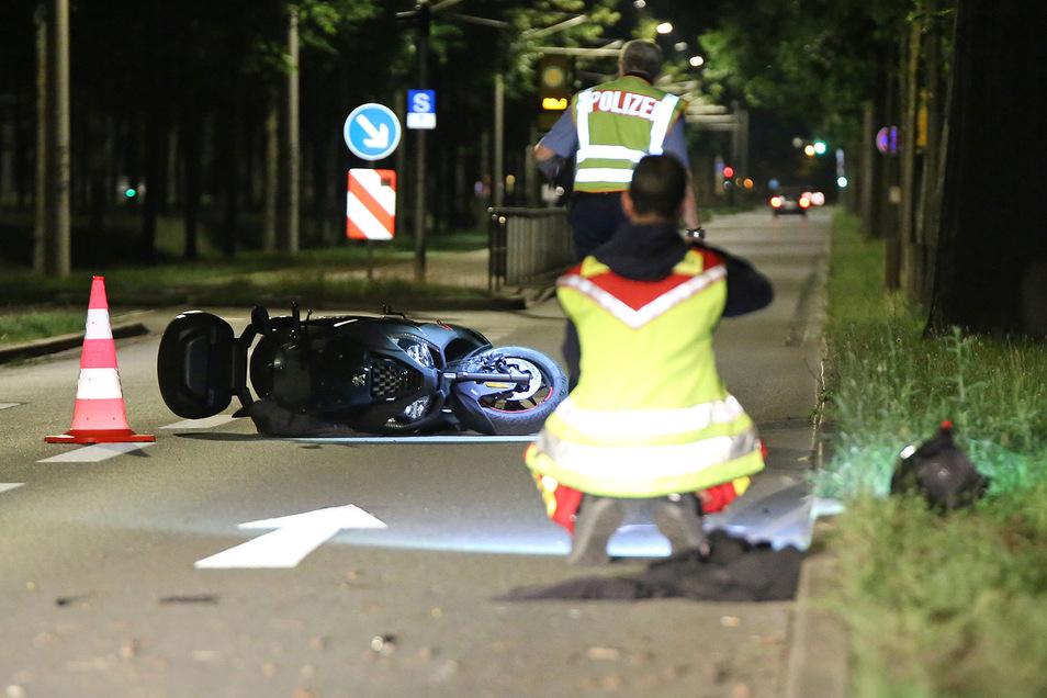 Der Fahrer des Rollers stürzte auf der Stübelallee.