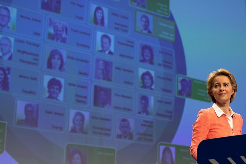 Ursula von der Leyen, zukünftige Präsidentin der Europäischen Kommission, stellt ihr Team von Kandidaten für die EU-Kommission vor.
