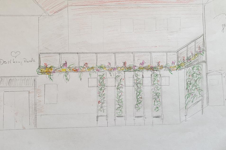 Das Projekt Vertikale Gärten am Dorfkrug Roda gewann den ersten Preis der Kategorie Wirtschaft. Es soll demnächst verwirklicht werden.