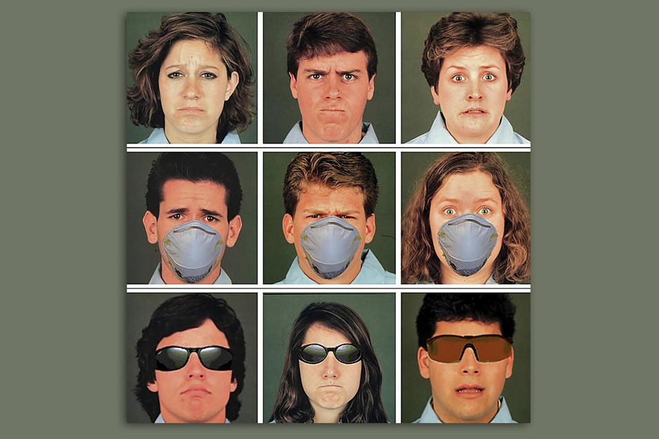 Trauer, Wut oder Angst (v. l. n. r.): Forscher haben untersucht, wie gut Kinder diese Emotionen auch bei teilweise bedeckten Gesichtern richtig erkennen können.