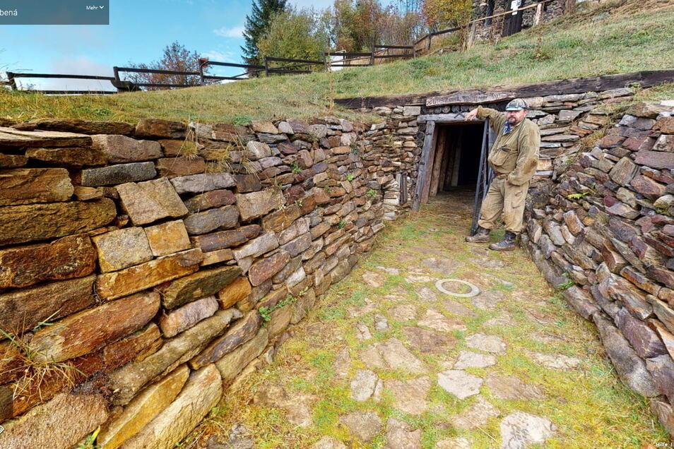 Der Eingang zum Gelobtes-Land-Stollen in Medenec (Kupferberg). Die virtuelle Tour durch das Schaubergwerk gibt auch Blicke in bislang unbekannte Ecken frei.