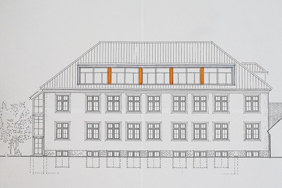 Ab August 2019 wurde das Spitzdach der Schule, in dem sich bis dato die Aula befand, umgebaut. Dank großer Gauben entstanden hier komfortable Unterrichtsräume.