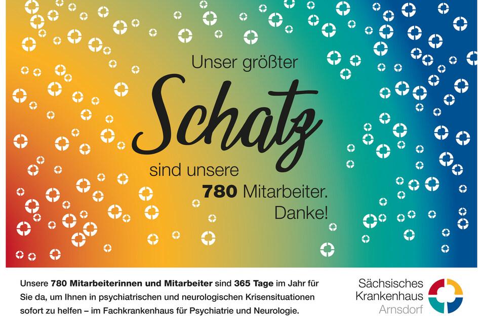 Dieses Plakat des Sächsischen Fachkrankenhaus Arnsdorf wird in Dresden und Radeberg zu sehen sein.