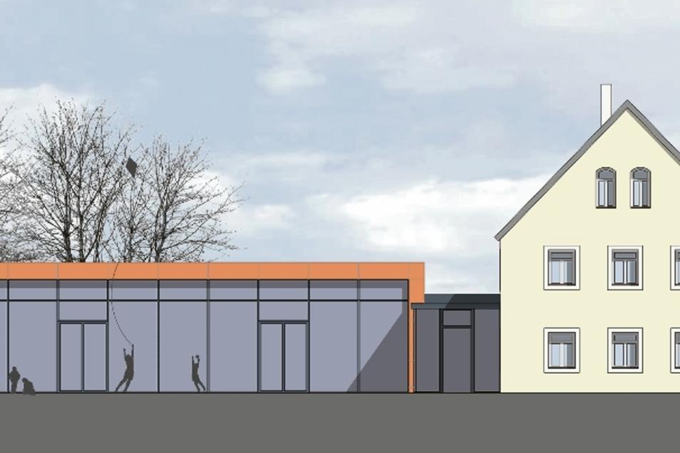 So soll der Anbau an das bestehende Kita-Gebäude aus Richtung Norden, also vom Grundstück der Grundschule her aussehen.