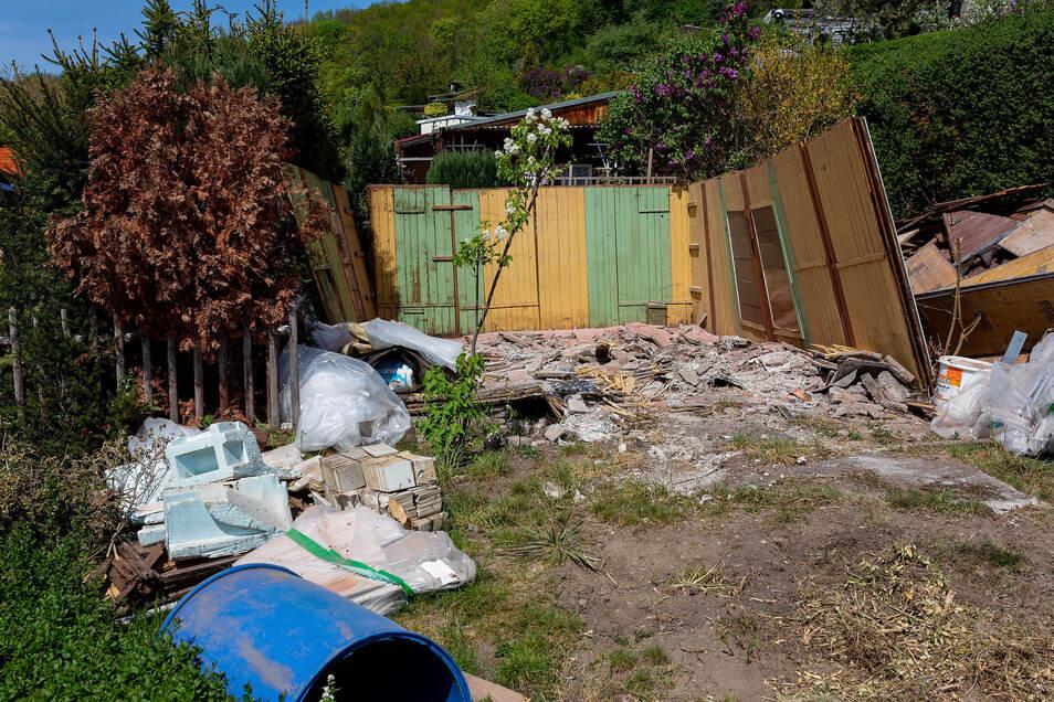 Unter dem ehemaligen Vereinshaus der Gartensparte war der Boden nachgesackt.