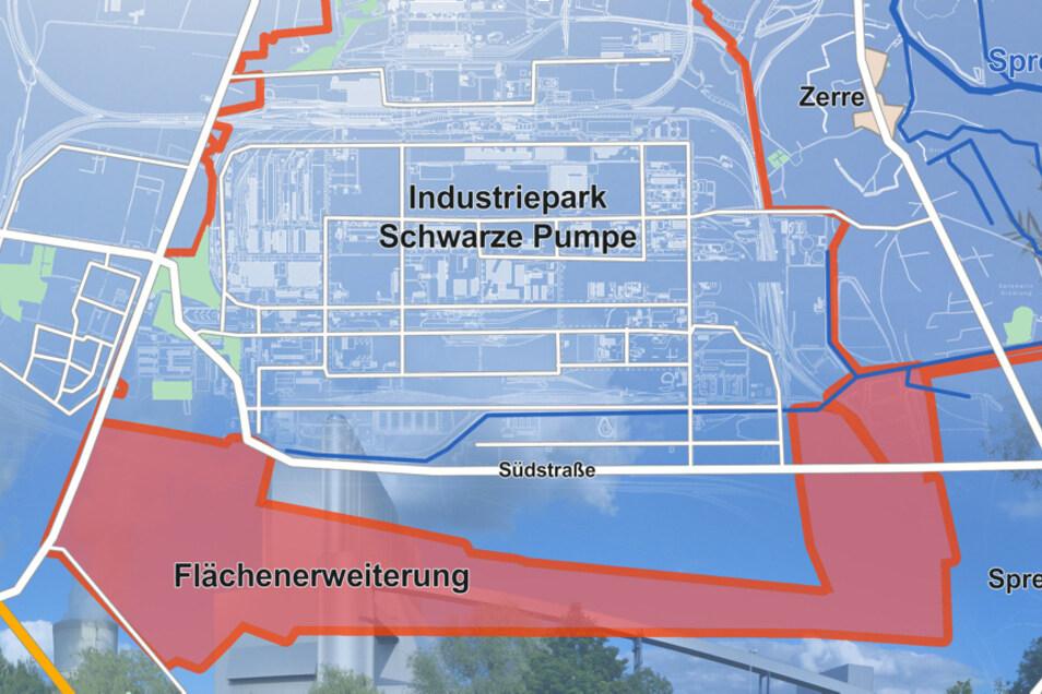 Unterhalb der Südstraße wäre - in Blau - bereits eine Vergrößerung möglich. Rot ist die jetzt angedachte Zusatz-Erweiterung.