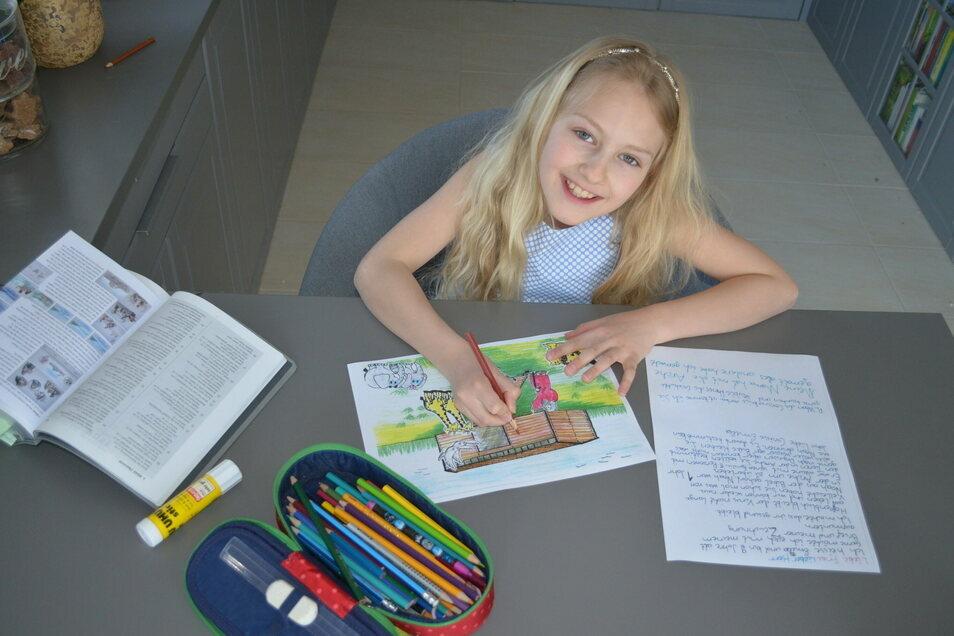 Emilia hat Bilder für Bewohner eines Pflegeheims gemalt.