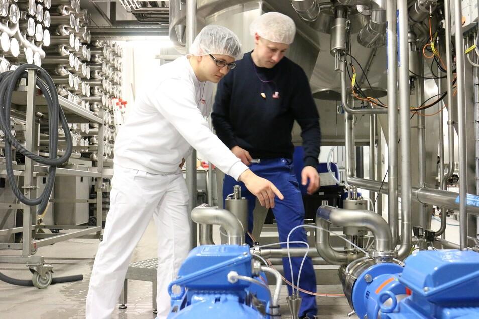 Angehende Milchtechnologen lernen bei Sachsenmilch in Leppersdorf einen Beruf mit Zukunft.