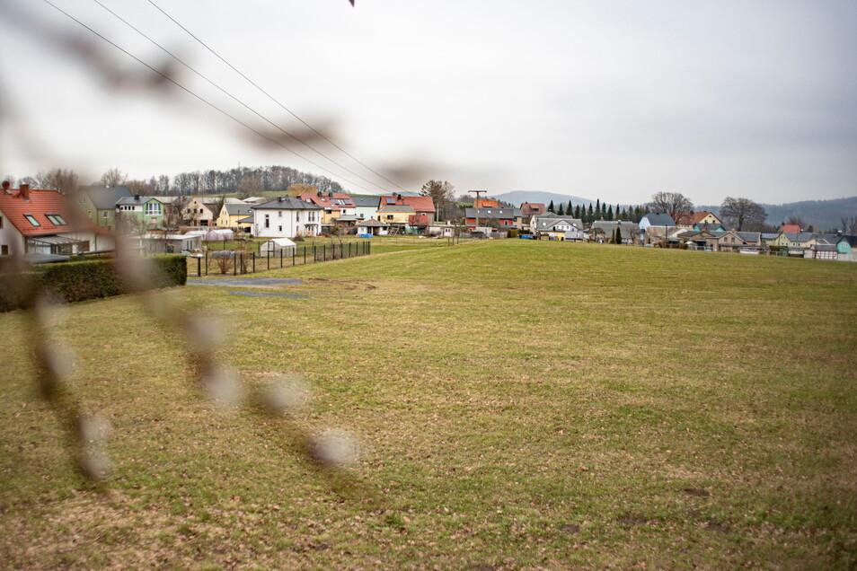 Diese freie Fläche unterhalb des Sportplatzes in Steina soll als Baugebiet für Eigenheime ausgewiesen werden.