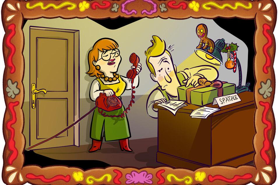 Detektiv Spätzle inspiziert ein mysteriöses Paket. Seine Assistentin Anneliese Sachse blickt über ihm über die Schultern.
