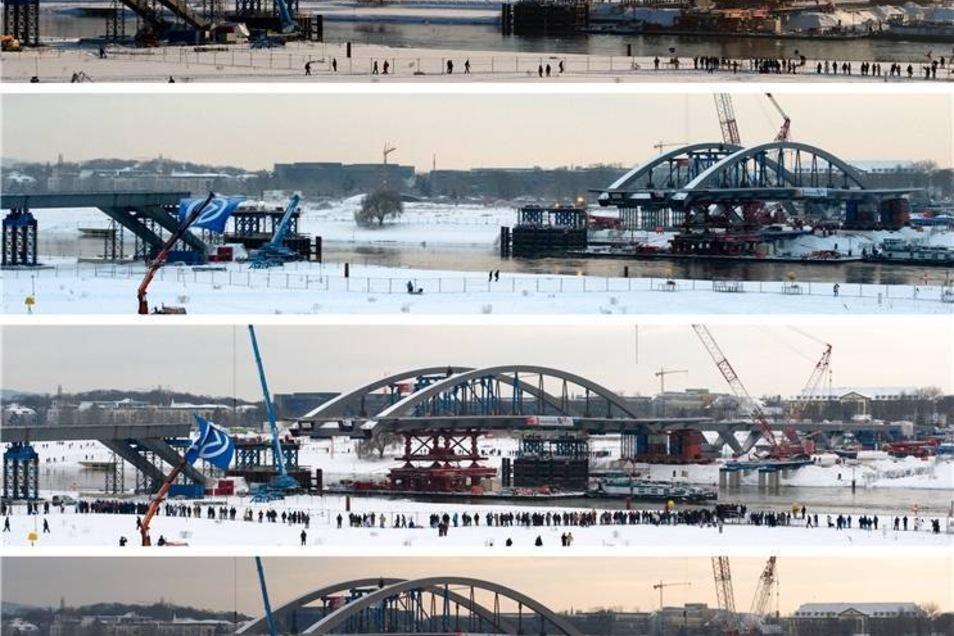 Bauarbeiten 2010  Insgesamt dauerte das Einschwimmen 17 Tage - vom 3.–19. Dezember 2010.