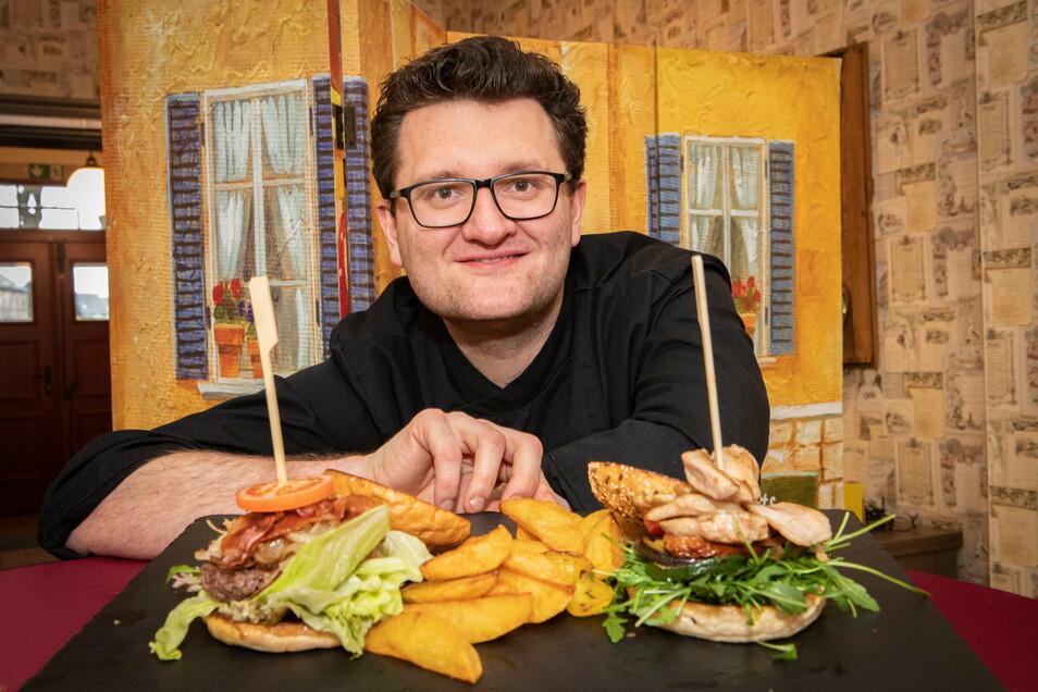 Stephan Seurig vom Bergkeller Großenhain empfiehlt zum Valentinstag unter anderem leckere Burger. Zahlreiche gastronomische Einrichtungen haben sich für den 14. Februar um Extra-Menüs Gedanken gemacht.