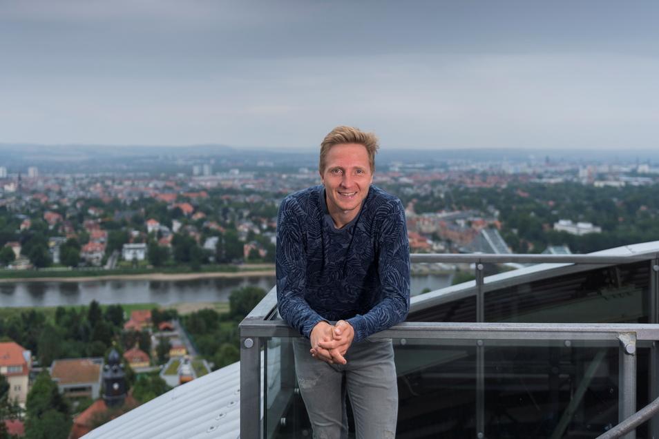 Die Aussichtsplattform der Schwebebahn an der Bergstation ist einer der Lieblingsplätze von Marco Hartmann in Dresden.