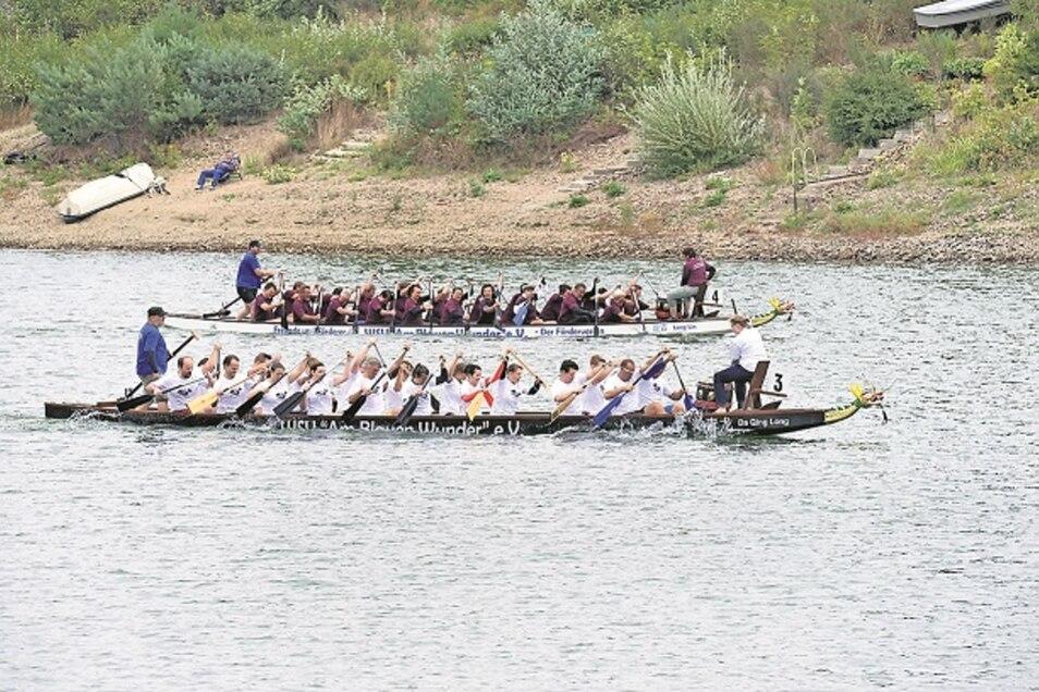 Dieses Bild entstand im vergangenen Jahr, wird sich aber am Sonnabend auch wieder zeigen: Drachenboote auf der Malter.