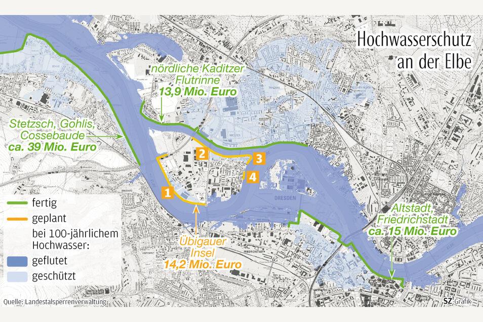 Das sind die vier Projekte, die für den Hochwasserschutz der Übigauer Insel geplant sind.