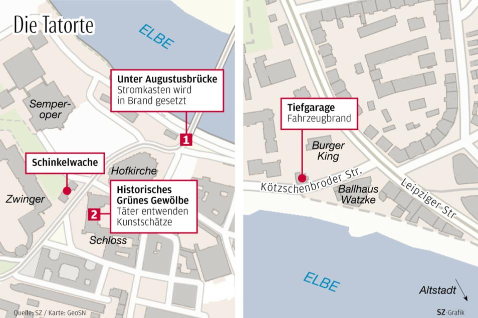 In einer Tiefgarage in Pieschen (rechts) wurde eventuell das Fluchtfahrzeug gefunden. Links auf der Karte ist das Stadtzentum mit dem Grünen Gewölbe zu sehen.